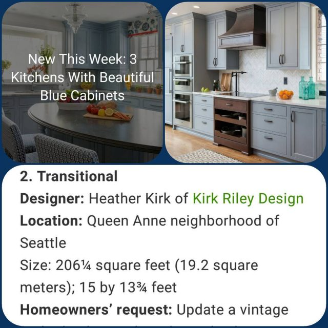 friyay Featured on houzz today! Check out why Blue kitchenshellip
