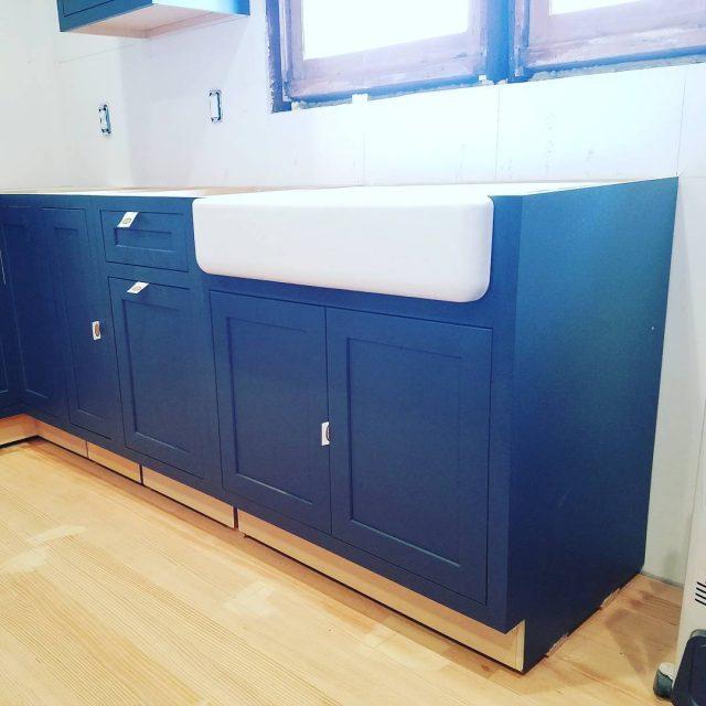 Who a farmhouse sink? wip bluekitchen seattledesigner kitcheninspo craftsmankitchenproject